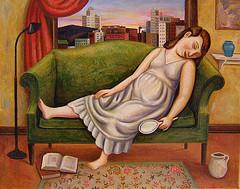 картина спящей женщины