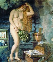 картина - женщина в бане