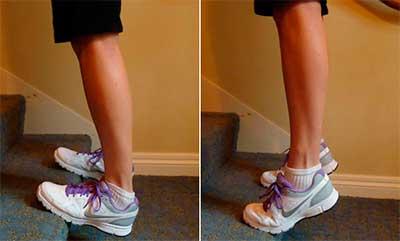 Упражнение - растяжка икроножных мышц на лестнице