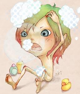 девочка моет голову - карикатура