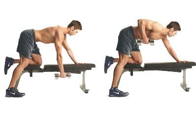 Упражнения с гантелями на опорной стойке