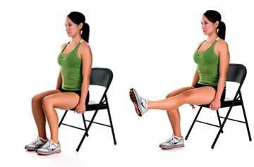 упражнение - разработка коленного сустава на стуле