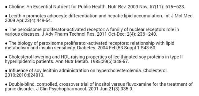 научные источники к статье о лецитине